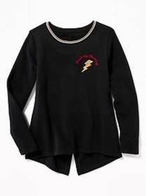 Graphic Vented-Back Sweatshirt for Girls