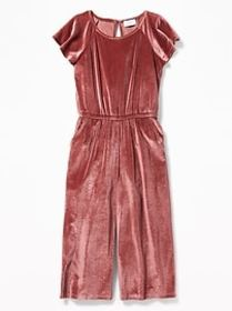 Velvet Flutter-Sleeve Wide-Leg Jumpsuit for Girls
