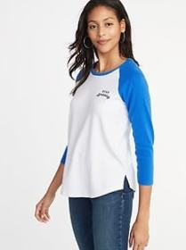 Relaxed Graphic Raglan-Sleeve Tee for Women