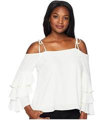 Vince Camuto Tie Strap Tiered Ruffle Sleeve Blouse