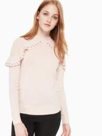 ruffle studded sweater