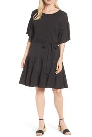 Bobeau Drop Waist Ruffle Cotton Dress (Regular & P