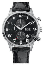 BOSS Leather Strap Chronograph Watch