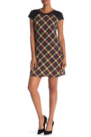 Papillon Plaid Cap Sleeve Dress