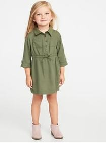 Cinched-Waist Utility Shirt Dress for Toddler Girl