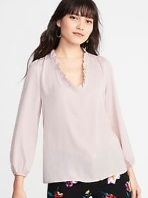 Ruffle-Trim Satin Surplice Blouse for Women