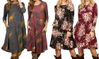Women's Long-Sleeve Printed Dress with Pockets. Pl