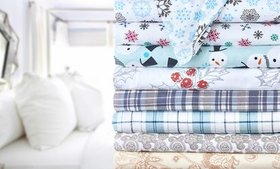100% Cotton Bibb Home Cozy Flannel Printed Sheet S