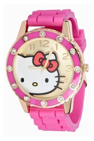 Hello Kitty Women's Crystal Accented Rubber Strap