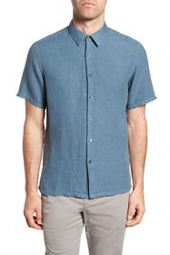 Theory Irving Trim Fit Linen Short Sleeve Sport Sh