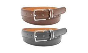 Men's Black and Brown Genuine Leather Belts (2-Pac
