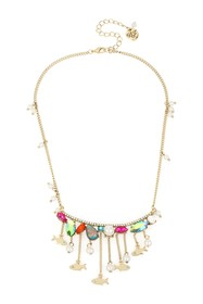 Betsey Johnson Stone & Fish Frontal Necklace