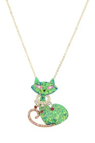 Betsey Johnson Green Cat Pendant Necklace