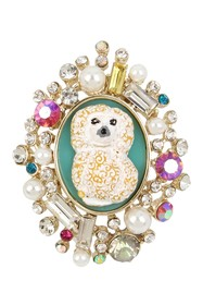 Betsey Johnson Poodle Cameo Ring - Size 7