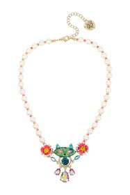 Betsey Johnson Imitation Pearl & Colorful Cat Neck