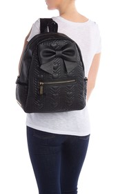 Betsey Johnson Chevron Heart Bow Accent Backpack