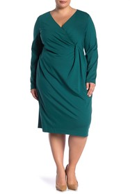 Lafayette 148 New York Pleated Long Sleeve Dress (