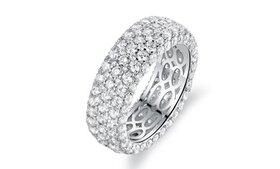 18K White Gold Plated Eternity Ring Made with Swar