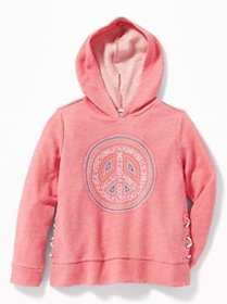 Graphic French Terry Side-Lace Pullover Hoodie for