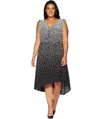 Adrianna Papell Plus Size Moody Dot High-Low Dress