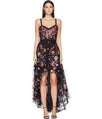 Marchesa Sleeveless High-Low Embroidered Flocked T