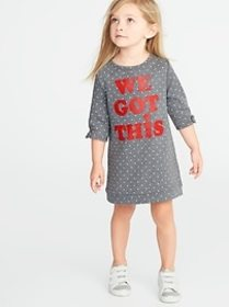 French-Terry Graphic Shift Dress for Toddler Girls