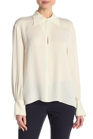 Theory Silk Keyhole Point Collar Blouse
