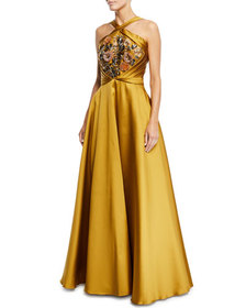 Crisscross Halter Beaded Ball Gown