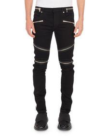 Men's Nervures Skinny Jeans with Zip Embellishment