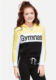 Gymnastics Stud Lace Up Crop Hoodie