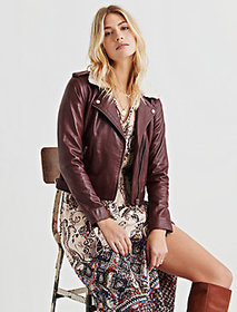 Sherpa Collar Leather Jacket