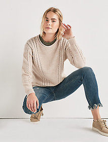 V Cable Knit Sweater