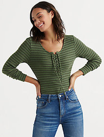 Stripe Lace Up Ribbed Henley