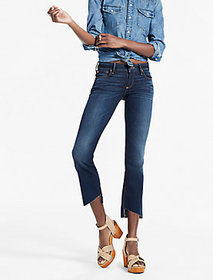 Lolita Mid Rise Cropped Bootcut Jean With Asymmetr