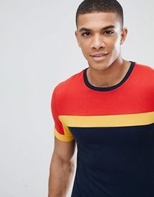 ASOS DESIGN muscle fit t-shirt with color block in