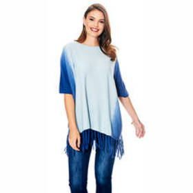 Allie & Rob Ombre Fringe Trim Sweater Knit Poncho