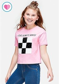 Love Always Wins Tic Tac Toe Flip Sequin Graphic T