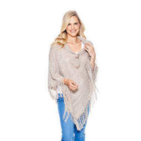 Allie & Rob Shawl Collar Neck Poncho with Horn But