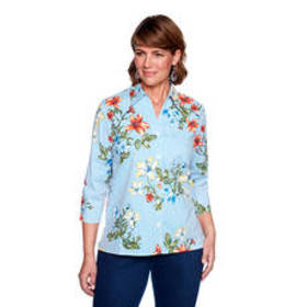Petite Alfred Dunner Out of The Blue Floral Stripe