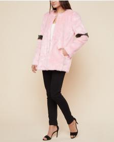 Juicy Couture Striped Faux Fur Coat