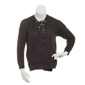 Juniors No Comment Lace Up V-Neck Shaker Pullover