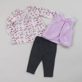 Baby Girl (3-9M) Weeplay 3pc. Faux Fur and Floral