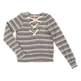 Girls (7-16) Poof! Big Lace Up Front Stripe Hacci