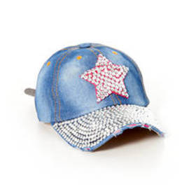 Womens Studded Denim Baseball Hat