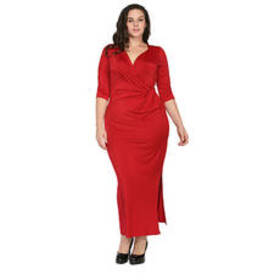 Plus Size 24/7 Comfort Apparel Long Dress -Burgund