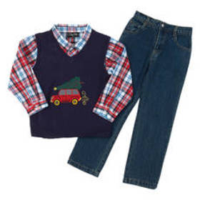 Boys (4-7) Only Kids 3pc. Christmas Tree Truck Ves