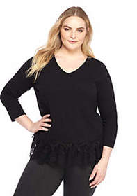 Plus Size Lace Trimmed V-Neck Top