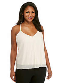 Plus Size V-Neck Spaghetti Strap Plisse Tank with