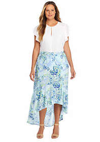 Plus Size Fluid Crepe Maxi Skirt