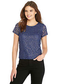 Short Sleeve Embroidered Mesh Top